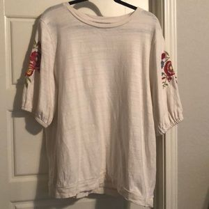 LOFT Flower Embroidered Sweater Top